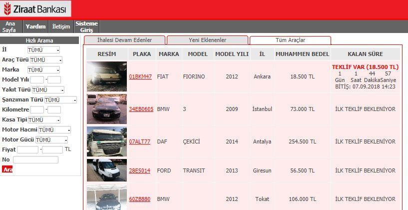 Ziraat bankası 2.el icralık araç satış sitesi görüntüsü