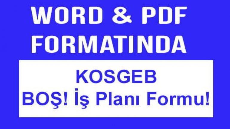 Boş KOSGEB iş planı formu İŞGEM dahil 1 Word 1 PDF